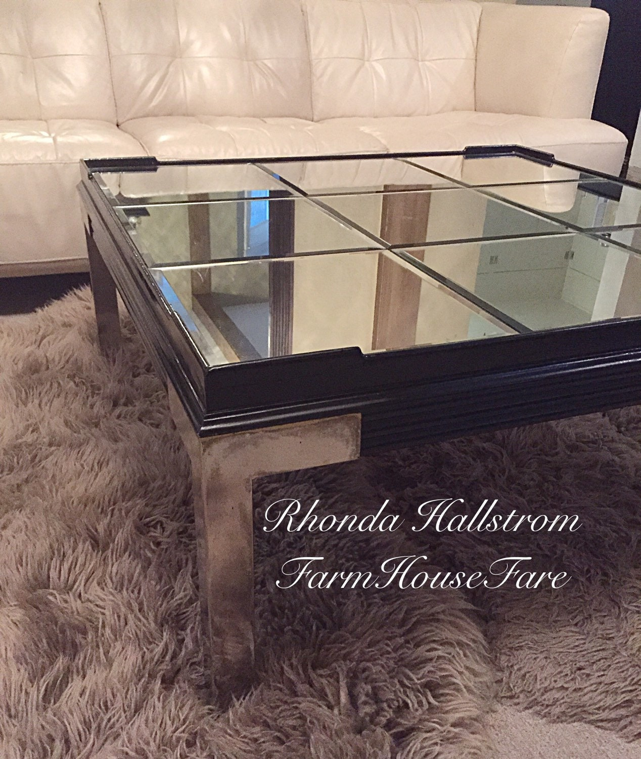 haut de gamme table basse miroir haute brillance par farmhousefare. Black Bedroom Furniture Sets. Home Design Ideas