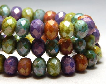 8x6mm Mixed Colors Czech Beads, Green Beads, Earthy Beads, Puple Beads, Glass Beads, Czech Rondelles, Mixed Beads, Faceted Beads T-74D