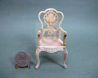 "Miniature 1""Scale  Extraordinary Arm Chair[Unpainted] For Dollhouse"