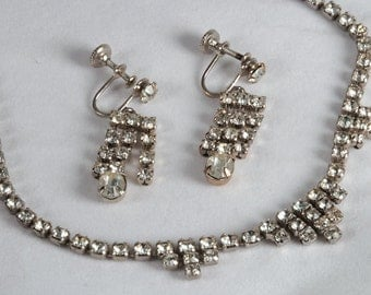 Vintage Rhinestone Demi Parure, Necklace and Earrings Set, Prom Jewelry, 140