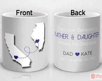 Custom PinkMugNY design coffee mug- Long Distance Love - Dad & Daughter - Father's Day