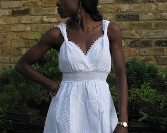 White Cotton Dress Broderie Anglaise Artisan 01