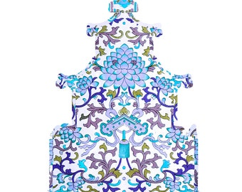 Blue Chinoiserie Art Print - Printable - Pagoda with Blue Floral Pattern to Print Yourself!