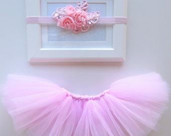 Fancy Baby Girl Tutu Set, Pink Newborn Tutu Set, Pink Tutu, Baby Girl Tutu, Pink Sparkle headband
