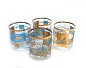 Libby Glasses Southern Comfort Steamboat gold and blue - set of 4 atomic lowball glasses