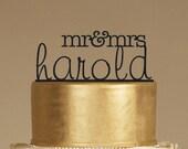 Custom Wedding Cake Topper - Personalized Monogram Cake Topper - Mr and Mrs - Cake Decor - Bride and Groom