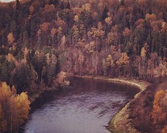 Autumn in Sigulda, Latvia - Fine Art Photography - autumn photo print 8x8, autumn art, nature photography, rustic wall art, nature print