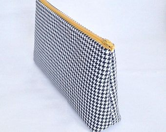 Medium Houndstooth Makeup Bag, Pencil Case, Zipper Pouch. Mustard yellow zipper, houndstooth print in black and white on cotton canvas