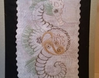 Steam punk seahorse embroidery