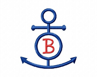 Circle anchor embroidery design download - initial can be added - 4x4 hoop size