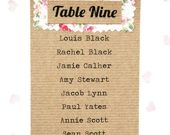 Rustic Shabby Chic, Ribbed Kraft Floral Fabric Wedding Table Plan Card