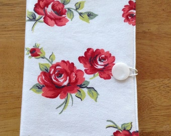 Notepad holder ~ List taker ~ Fabric covered ~ Floral ~ Red ~ Reuseable