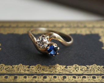 SALE! Vintage 1960s 10K Yellow Gold Sapphire and OEC CZ Ring - Toi et Moi || Bypass Ring || Victorian