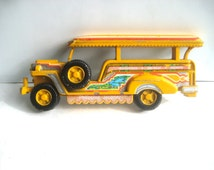 Vintage WW II Jeep Philippine Jeepney Vintage Wall Decor Repurposed for Mass Transit beatnik hippie style