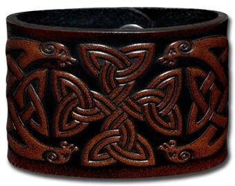 Leather Bracelet 48mm Celtic Cross (6) brown-antique