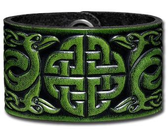 Leather Bracelet 40mm Celtic Knotwork with Birds