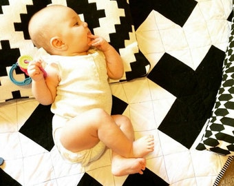 Baby Quilt // Black & White Plus Sign // Cross