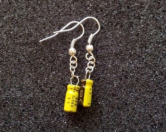 Yellow and Black Capacitor Earrings