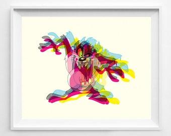 Taz - Tazmanian Devil - Taz Art - Taz Poster - Boys Room Art - Kids Room Art - Looney Tunes - Looney Tunes Art - Cartoon - Cartoon Art