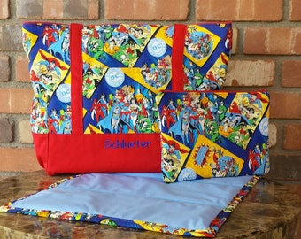 Large Personalized DC Comics Superman Batman Wonder Woman Superhero Red and Blue Diaper Bag With Matching Clutch and Changing Pad