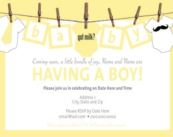 Baby Clothesline Baby Shower Invitations Printing & Shipping