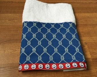 Nautical Hand Towel Coastal Beach Nautical Marine Blue Knots Red Navy Anchor Beach Decor Bath Kitchen Towel
