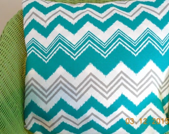 Turquoise Chevron Outdoor Pillow Cover Abstract Zig Zag Premier Fabric Gray Teal Decorative Throw Pillow