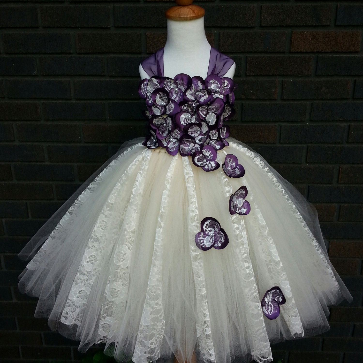 Plum & Ivory lace flower girl dress Junior by LisasThreads