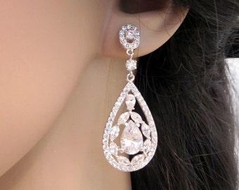 Bridal earrings, Wedding jewelry, Chandelier earrings, Vintage style earrings, Swarovski crystal wedding earrings, Bridal jewelry