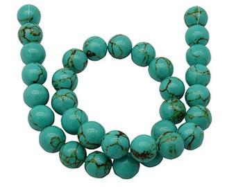 1 Strand 6mm Turquoise Howlite Round Beads
