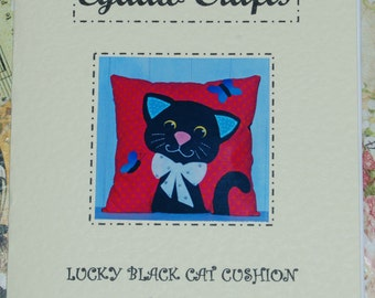 Lucky Black Cat Applique Cushion Sewing Pattern by  Wendy  Wadge