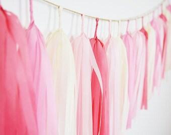 Island Blush Tassel Garland, Pink Tassel Banner, Pink Wedding, Coral Tassel Garland, Pink Backdrop, Pink Nursery Garland, Baby Girl Shower
