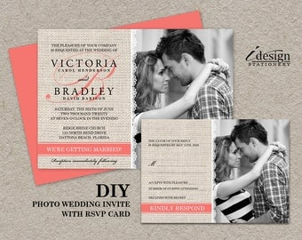 Coral Rustic Wedding Photo Invitations With RSVP Cards, DIY Printable Coral And Burlap Invitation With Response Card