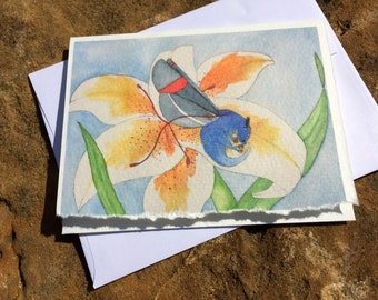 Set of four butterfly dragon on lily flower blank notecards origional artwork