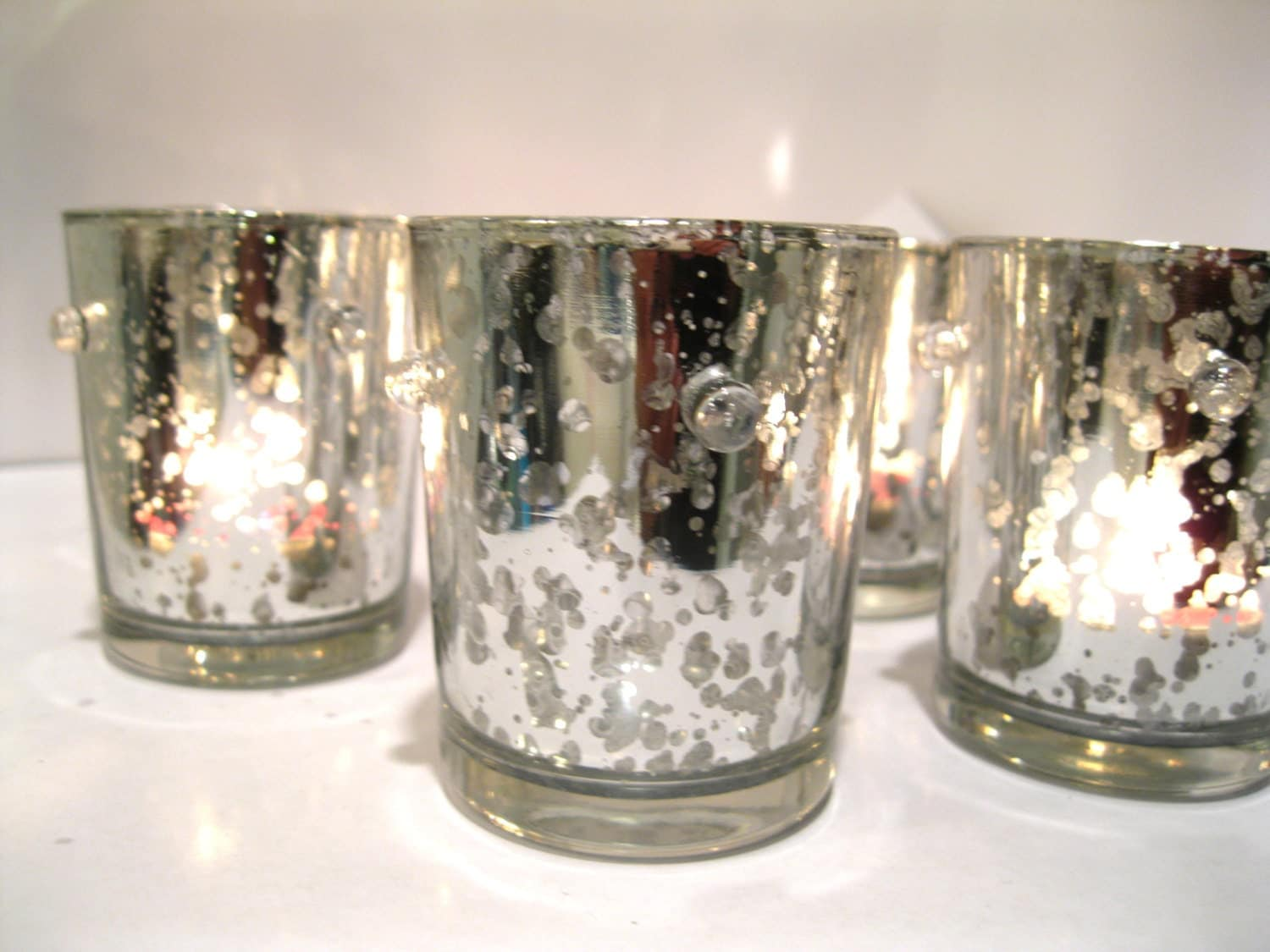 Mercury Glass Votive Candle Holders 10 Silver Mercury Glass