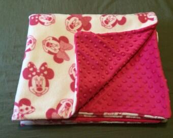 Minni Mouse Fleece and Pink Minky Blanket
