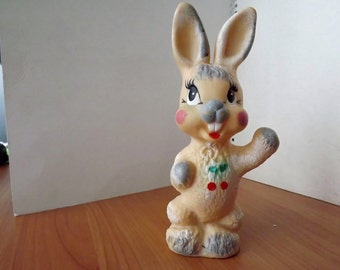 "Vintage soviet rubber toy ""rabbit"". Made in the USSR. RARE!"