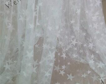 Off White star lace fabric, Stretch lace fabric, 4-way stretch lace,  floral stretchy lace, tulle fabric, stretch fabric W080502