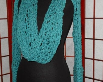 Gorgeous SOFT teal cowl scarf shrug - All in one - hand crocheted - free shipping
