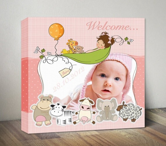 Unique Wall Decor For Nursery : Personalized nursery wall art unique birth gift