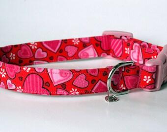 "Handmade  Red w Pink Hearts Valentine Dog Collar ""New"""