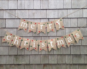 Ready to Ship, Christmas Decor, Christmas Banner, Christmas Garland Bunting, Burlap Merry Christmas, Burlap banner, Polka Dot Burlap Garland