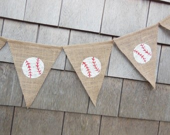 Baseball Nursery Decor, Baseball Birthday Party Decor, Baseball Banner, Baseball Bunting Garland, Burlap Banner Bunting, Baseball Photo Prop