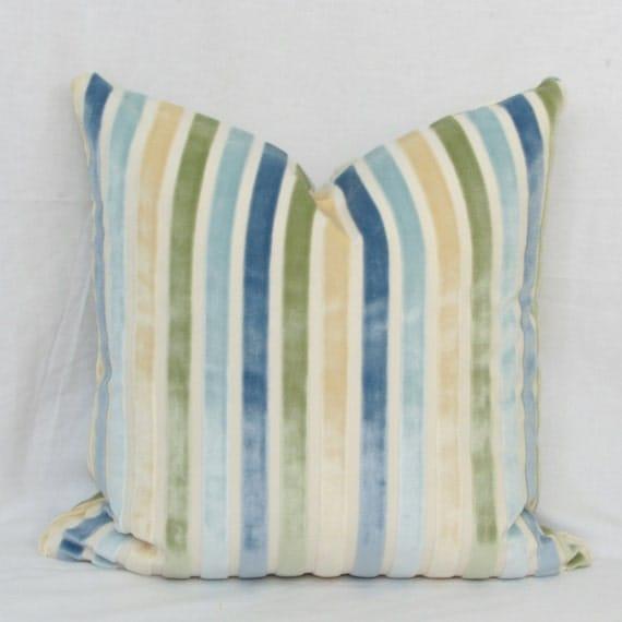 Items similar to Pastel stripe velvet decorative throw pillow cover. 18 x 18. 20 x 20. 22 x 22 ...