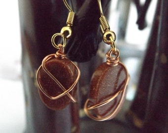 Copper wire wrapped oval beaded earrings