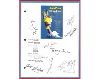 Monty Python and The Holy Grail Signed Script Reprint Screenplay Autographed:John Cleese, Terry Gilliam, Eric Idle, Terry Jones, Neil Innes