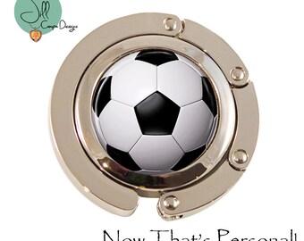 Soccer Mom gift - Soccer ball Purse Hanger - Soccer purse hook - Purse Hook - adjustable purse hanger - purse holder for table - Soccer