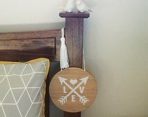 LOVE in Arrows hanging Eco friendly bamboo sign wedding ,engagement ...
