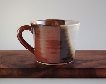 Handmade thrown small ceramic tea or coffee mug with rustic red brown and white glaze (VHM-S13)