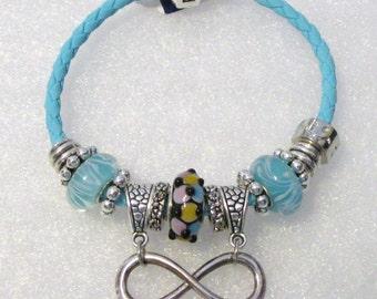 907 - Aqua Infinity Bracelet